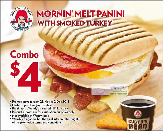 Wendy S Coupon 4 Mornin Melt Panini With Smoked Turkey