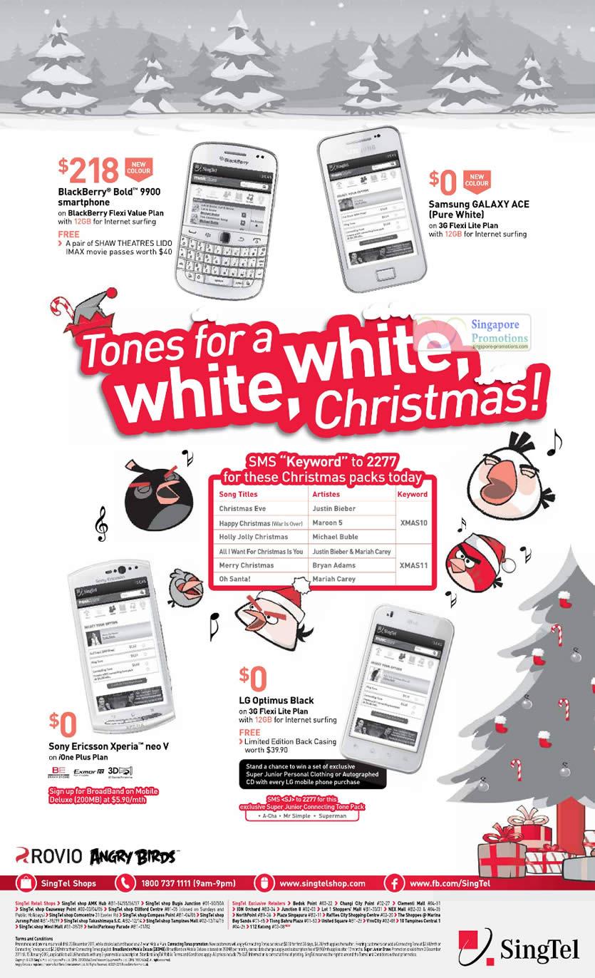 Blackberry Bold 9900, Samsung Galaxy Ace Pure White, Sony Ericsson Xperia Neo V, LG Optimus Black