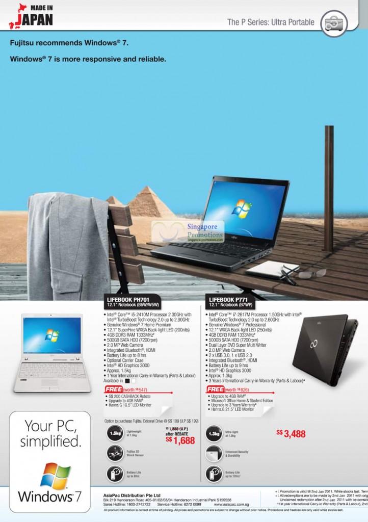 Fujitsu Lifebook PH701 B5W Notebook, Fujitsu Lifebook PH701 W5W Notebook, Fujitsu Lifebook P771 B7WP Notebook, Fujitsu Lifebook SH561 DB5W Notebook,