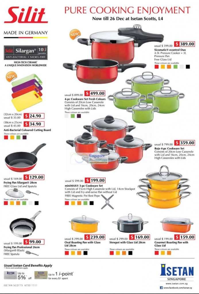 Silit Cooking Offers @ Isetan Scotts L4 - Silit Sicomatic econtrol Duo, Silit 4-pc Cookware Set Fresh Colours, Silit Rojo 4-pc Cookware Set, Silit miniMAX 3-pc Cookware Set, Silit Frying Ran Silargan, Silit Anti-Bacterial Coloured Cutting Board, Silit Frying Pan Professional, Silit Oval Roasting Pan with Glass Lid, Silit Stewpot with Glass Lid, Silit Gourmet Roasting Pan with Glass Lid