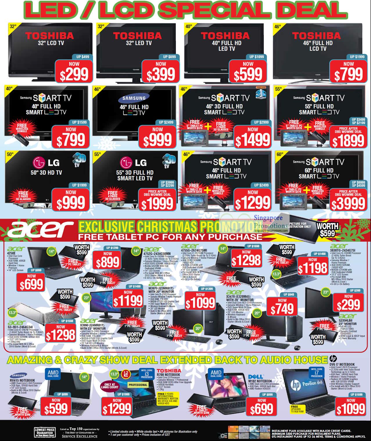 TV, Acer Notebooks, Desktop PC Acer 4250E Notebook, Acer S3-951-2464G34I Notebook, Acer X3990 i24MR81T Desktop PC, Acer 4752G-2434G50MN Notebook, Acer M3970 I23MR81T Desktop PC, Acer 4755G-2674G75MI Notebook, Acer X3470 E320M45 Desktop PC, Acer 3830TG-2434G75I Notebook, Acer S235HLBII Monitor, Samsung RV415 Notebook and Toshiba R700 Notebook and Dell M102 Notebook.