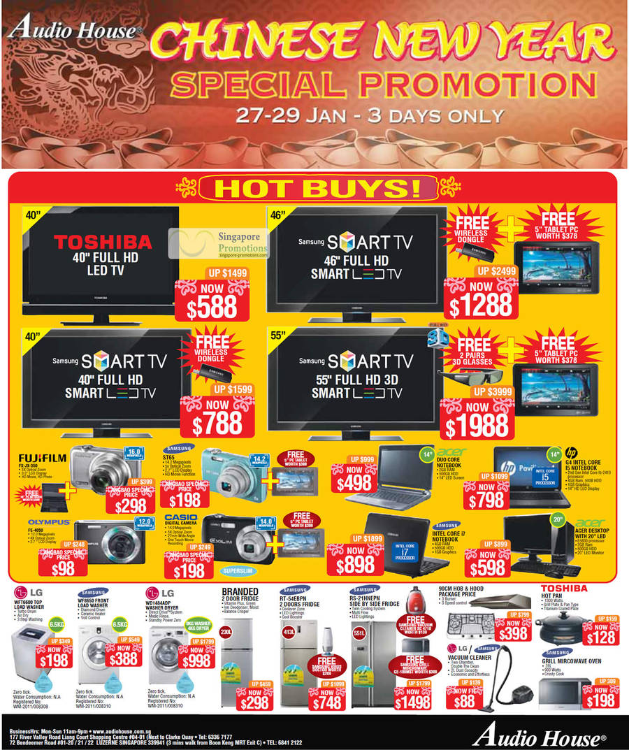 FUJIFILM FX-JX-350 Digital Camera, Samsung ST65 Digital Camera, OLYMPUS FE-4050 Digital Camera, LG WFT6600 Washer, Samsung WF8650 Washer, LG WD1484ADP Washer, Samsung RT-54EBPN Fridge, Samsung RS-21HNEPN Fridge