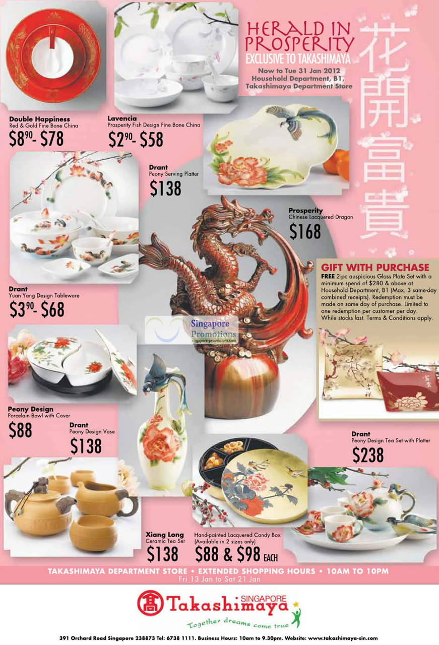 HERALD IN PROSPERITY: Double Happiness, Red & Gold Fine Bone China, Lavencia Prosperity Fish Design Fine Bone China, Drant Peony Serving Platter, Drant Yuan Yang Design Tableware, Prosperity Chinese Lacquered Dragon, Peony Design Porcelain Bowl with Cover, Drant Peony Design Vase, Drant Peony Design Tea Set with Platter, Xiang Long Ceramic Tea Set, Hand-painted lacquered Candy Box