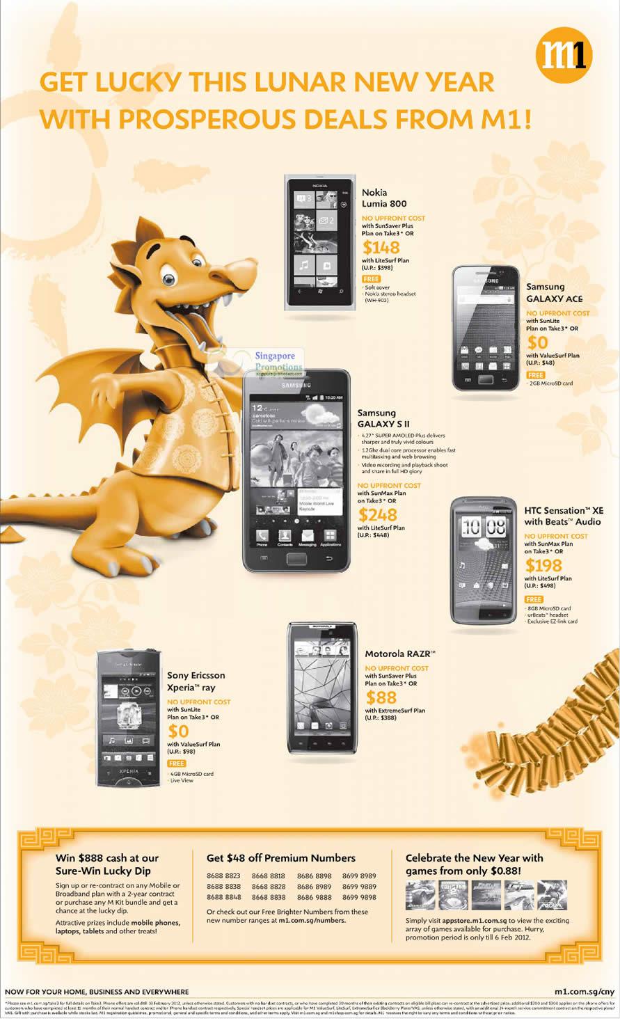 Nokia Lumia 800, Samsung Galaxy Ace, Galaxy S II, HTC Sensation XE, Motorola Razr, Sony Ericsson Xperia Ray