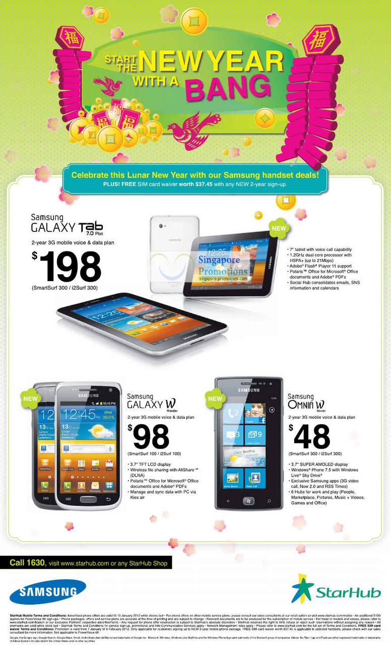 Samsung Galaxy Tab 7.0 Plus, Samsung Galaxy W Wonder, Samsung Omnia W