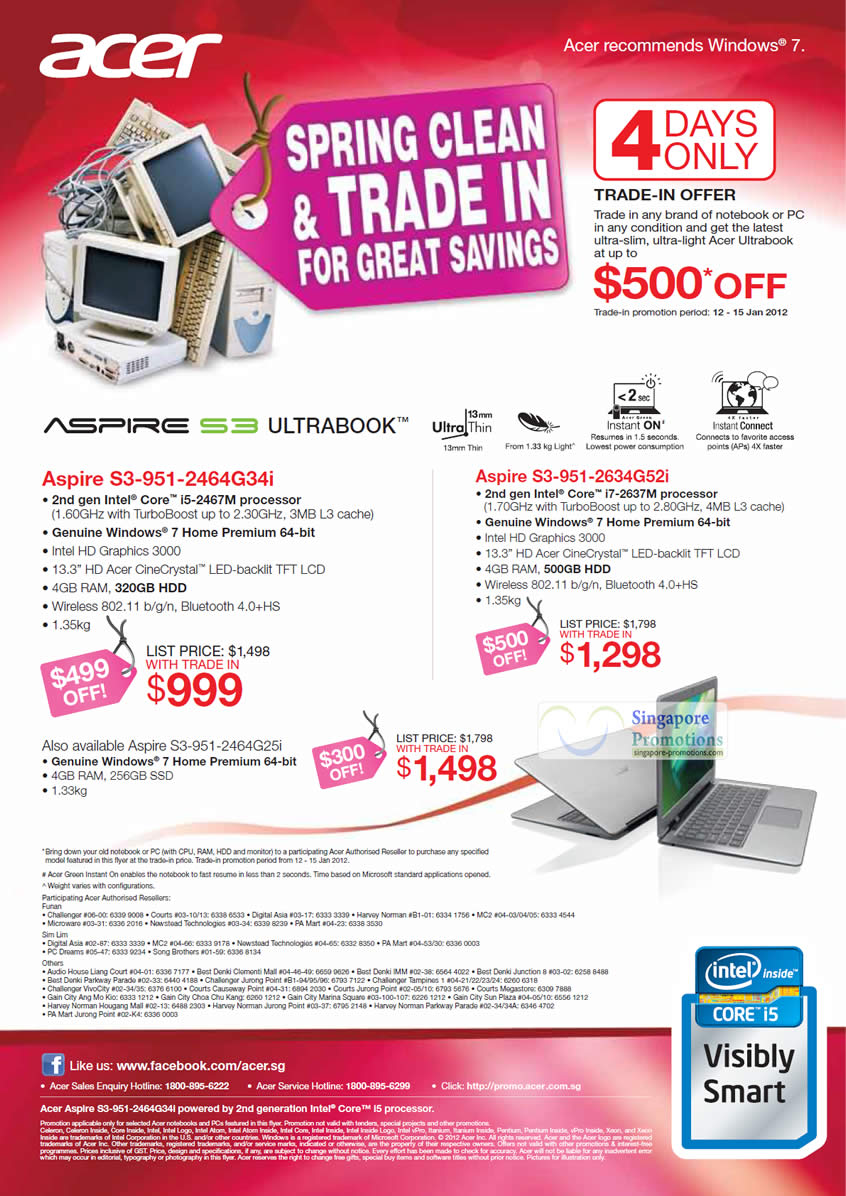 Acer Aspire Ultrabook S3-951-2634G52i Notebook and Acer Aspire Ultrabook S3-951-2464G34i Notebook