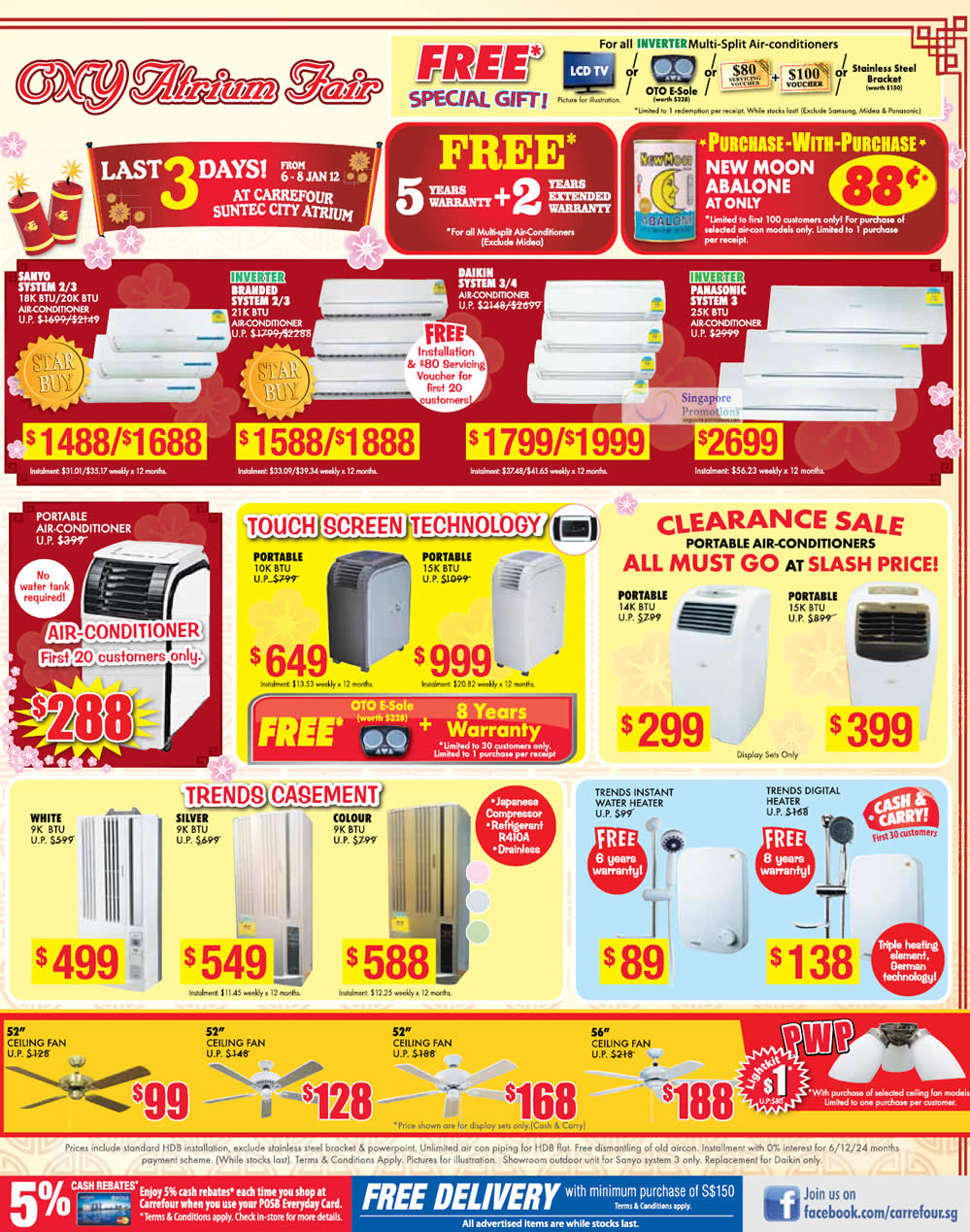 Water Heaters, Ceiling Fans & Air Conditioners