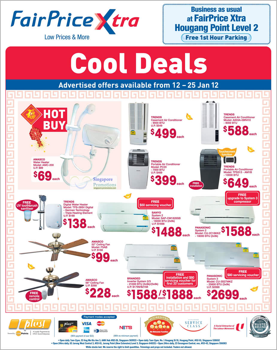 "AMASCO Water Heater AMC-200, TRENDS Water Heater TPS-28SV, AMASCO 52"" Ceiling Fan F5AB, SANYO System 2 Air Conditioner SAP-CM1826SB, TRENDS Portable Air Conditioner PC20, TRENDS Casement Air Conditioner A003A-09R410, TRENDS Portable Air Conditioner TPS313 - AM1B, PANASONIC System 2 Air Conditioner CU-2C18KKZ, PANASONIC System 3 Air Conditioner CU-3S27MKZ"