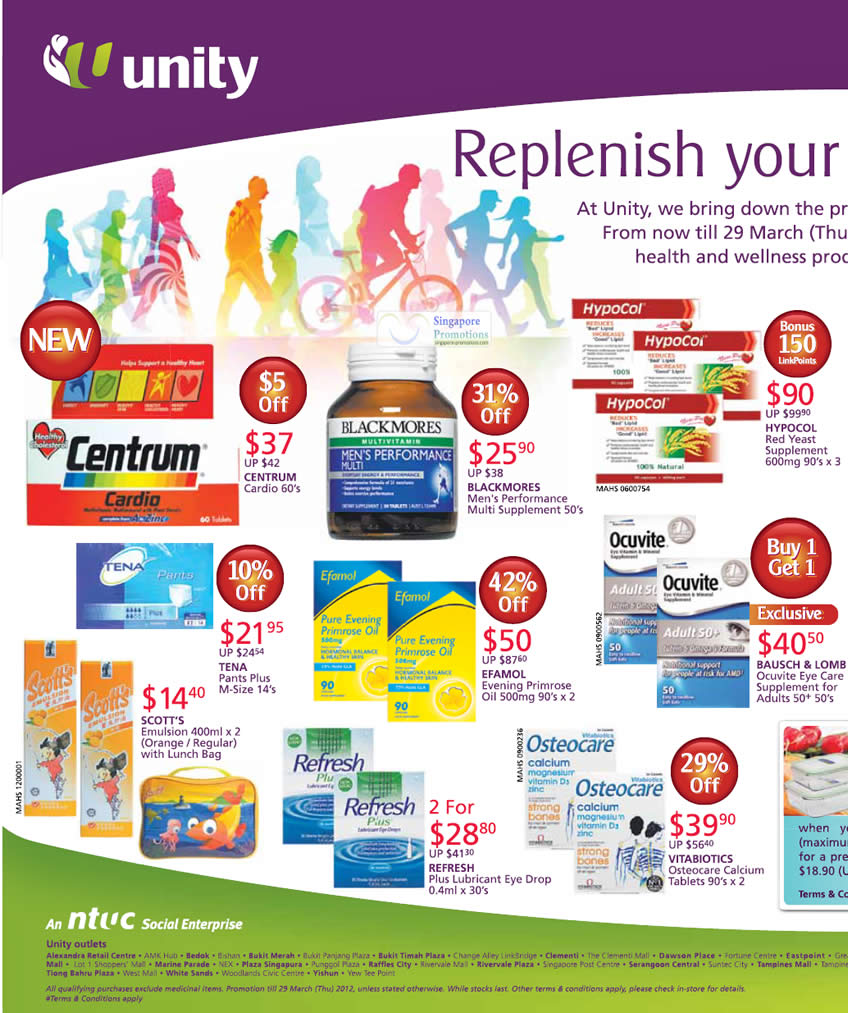CENTRUM Cardios, BLACKMORES Men's Performance Multi Supplement, HYPOCOL Red Yeast Supplement, BAUSCH & LOMB Ocuvite Eye Care Supplement, EFAMOL Evening Primrose Oil, VITABIOTICS Osteocare Calcium, REFRESH Plus Lubricant Eye Drop