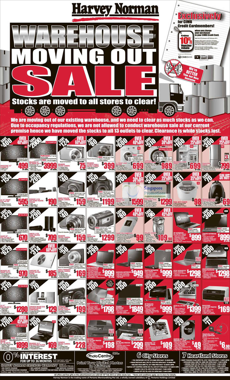 "LG Washer WD-12390TDP, Samsung Washer Dryer WD-8804CJA, Panasonic Fridge NR-BW464XNSG, Electrolux Pyrolytic Oven EOC-35000X, Canon Dslr Digital Camera EOS-600D, Nikon Coolpix Digital Camera S2500, Sony Handycam HDR-PJ10E, Philips Shaver HQ-9090, HP Notebook G4-1321TX, HP Notebook G4-1322TX, Lenovo Notebook G470, Asus Notebook K43SM311N75D7PM/2V/3Y, Acer Ultrabook S3-951-2464G341 Notebook, Fujitsu Notebook LH531-EDB5W, Acer Notebook 4752g-2434g50mn, Sony Cybershot Digital Camera DSC-W510, Olympus Digital Camera VR-310, Acer AIO Desktop PC AZ5761-125MR41TV, Asus Ultrabook UX-31 Notebook, Toshiba Notebook R830-2045U, Hp Pavilion Slimline Desktop PC 55-1140D, Panasonic AIO Printer KX-MB1500, Travelpac VOIP Skype Earphone PAC170, Viewsonic 10"" Digital Frame Vfm1032, Brother All-In-One Printer MFC-J430W, Canon Printer MG-6170"