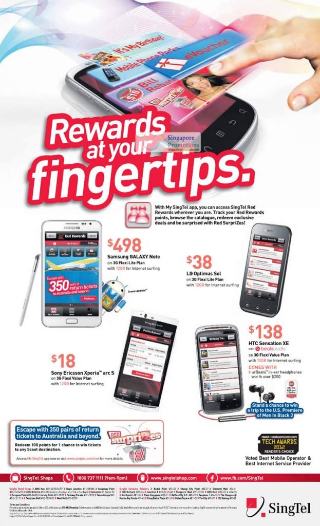 Samsung Galaxy Note, LG Optimus Sol, SE Xperia Arc S, HTC Sensation XE