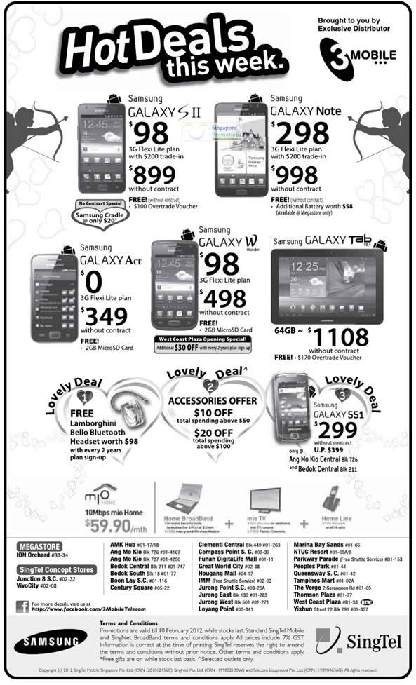 Samsung Galaxy S II, Galaxy Note, Galaxy Ace, Galaxy W, Galaxy Tab 10.1