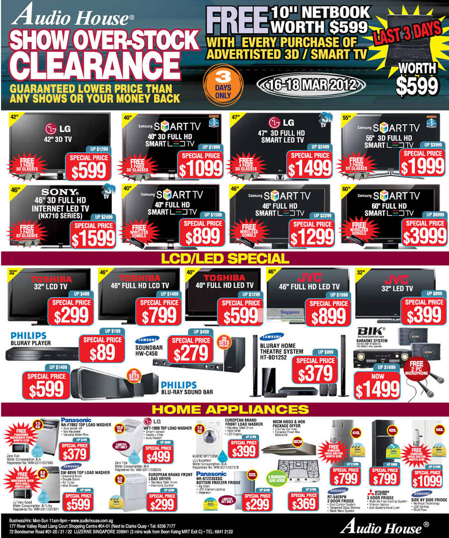 Panasonic NA-F70B2 Washer, Samsung SW-80V9 Washer, LG WFT-1000 Washer, Panasonic NR-BT223SSSG Fridge, Samsung RT-54EBPN Fridge