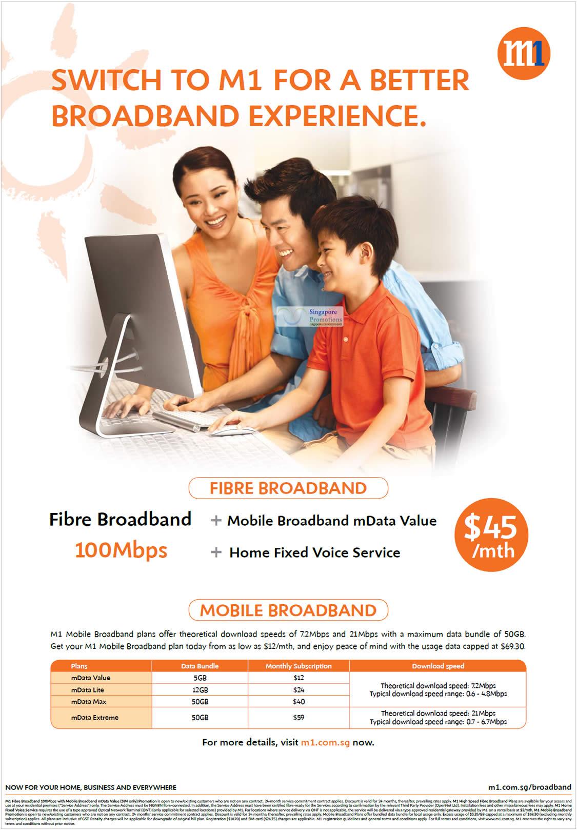 45 Dollar Fibre Broadband 100Mbps, Mobile Broadband
