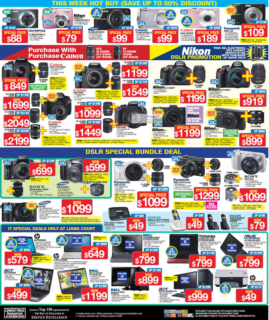 Panasonic Dmc-Ls5 Digital Camera, Nikon V1 Digital Camera, Nikon J1 Digital Camera, Samsung Nx-200 Digital Camera, Asus K43 Notebook, Toshiba Satelite L700 Notebook, Dell Inspiron N4050 Notebook, Dell Inspiron 620s Desktop PC, Dell N5110-2674461 Notebook, Dell Inspiron 620s Desktop PC, Acer X3470 362mr41t Desktop PC