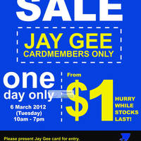 Read more about Jay Gee Warehouse Sale 6 - 10 Mar 2012