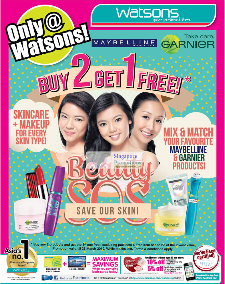 MAYBELLINE & GARNIER PRODUCTS! Buy 2 get 1 free