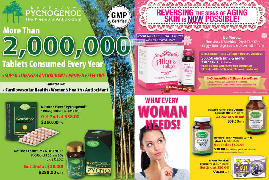 BioScience Allure Collagen Beauty Drink 6, Nature's Farm Bone Defense Formula, Nature's Farm Women's Wonder Mega, Tamon Fresh EYE Blueberry, Nature's Farm Pycnogenol lOOmg, Nature's Farm PYCNOGENOL RX-Gold