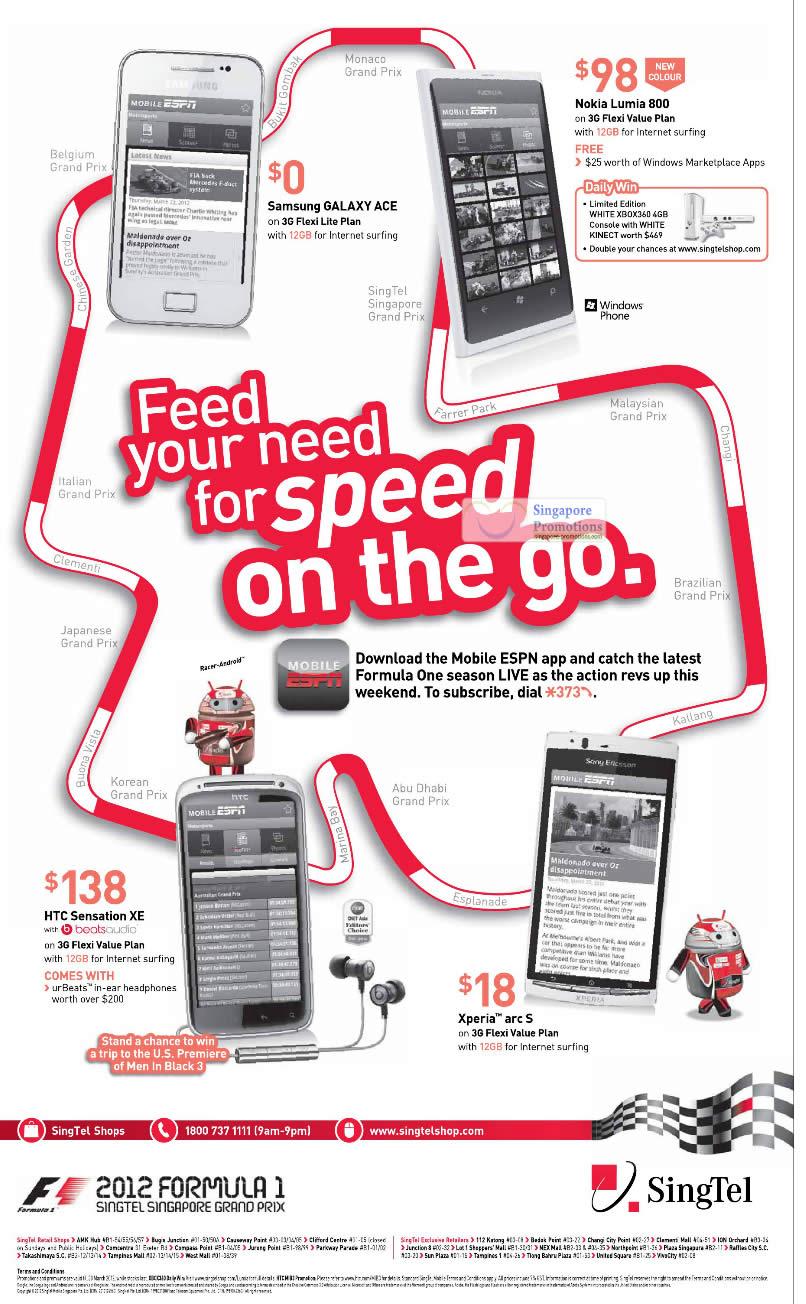 Samsung Galaxy Ace, Nokia Lumia 800 White, HTC Sensation XE, Sony Xperia Arc S