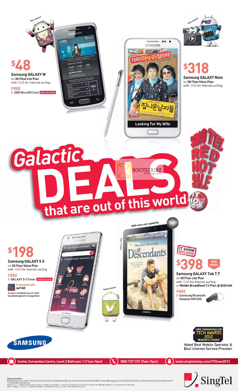 Singtel Mobile Samsung Galaxy W, Galaxy Note, Galaxy S II, Galaxy Tab 7.7