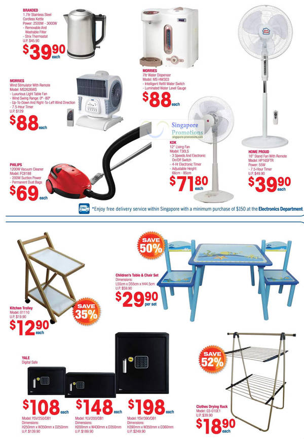 MORRIES Wind Stimulator MS2626WS, MORRIES Water Dispenser MS-HW303, PHILIPS Vacuum Cleaner FC8188, KDK Living Fan T30LS, Kitchen Trolley 01110, YALE Digital Safe YSW250/DB1, YALE Digital Safe YLV/200/DB1, YALE Digital Safe YSW390/DB1, Clothes Drying Rack 03-010E1, HOME PROUD Stand Fan HP16SFTR