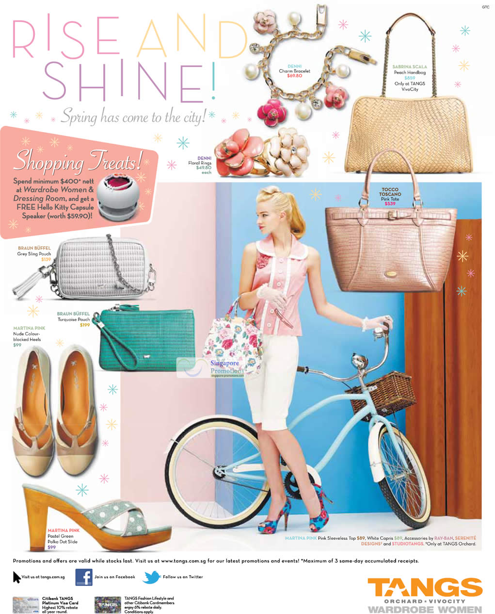 DENNI Floral Rings, BRAUN BUFFEL Grey Sling Pouch, BRAUN BUFFEL Turquoise Pouch, MARTINA PINK Heels, MARTINA PINK Pastel Green Polka Dot Slide, DENNI Charm Bracelet, SABRINA SCALA Peach Handbag, TOCCO TOSCANO Pink Tote, MARTINA PINK Pink Sleeveless Top, MARTINA PINK White Capris