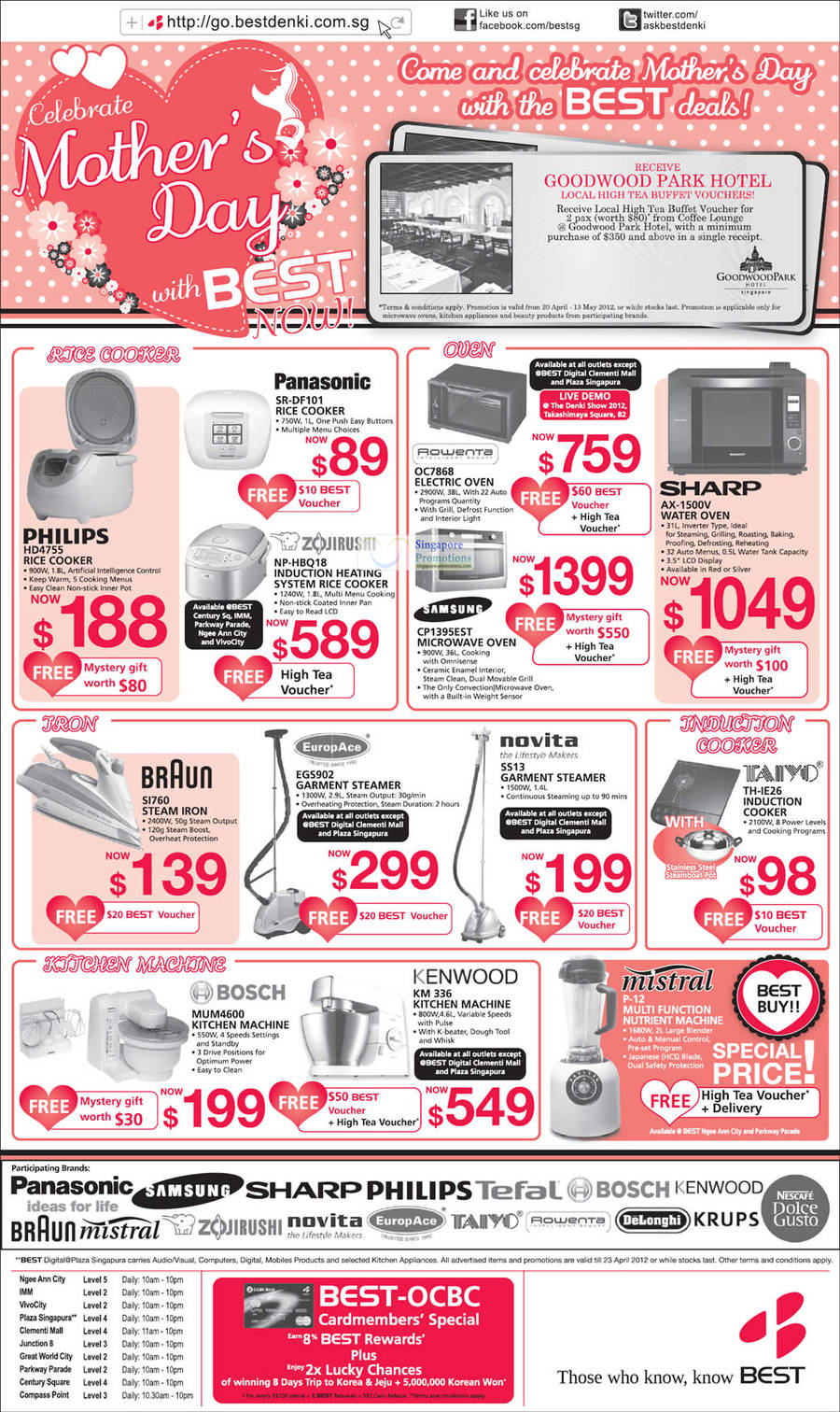 PHILIPS HD4755 RICE COOKER, BRAUN SI760 STEAM IRON, BOSCH MUM4600 KITCHEN MACHINE, Europace EGS902 GARMENT STEAMER, ZOJIRUSHI NP-HBQ18 RICE COOKER, Panasonic SR-DF101 RICE COOKER, Rowenta OC7868 ELECTRIC OVEN, Samsung CP1395EST MICROWAVE OVEN, Novita SS13 GARMENT STEAMER, KENWOOD KM336 KITCHEN MACHINE, Taiyo TH-IE26 INDUCTION COOKER, SHARP AX-1500V WATER OVEN