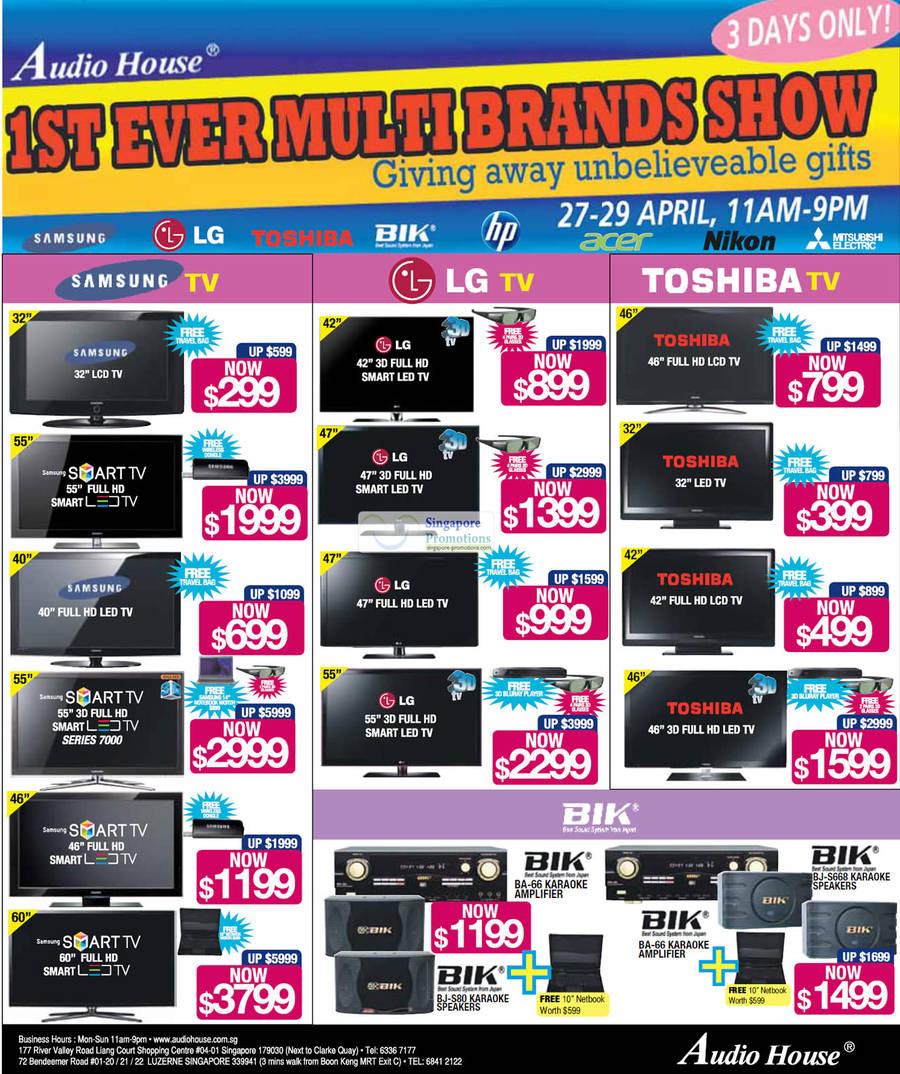 Samsung LCD TVs, LG LED TVs, Toshiba LCD TVs, BIK Speakers