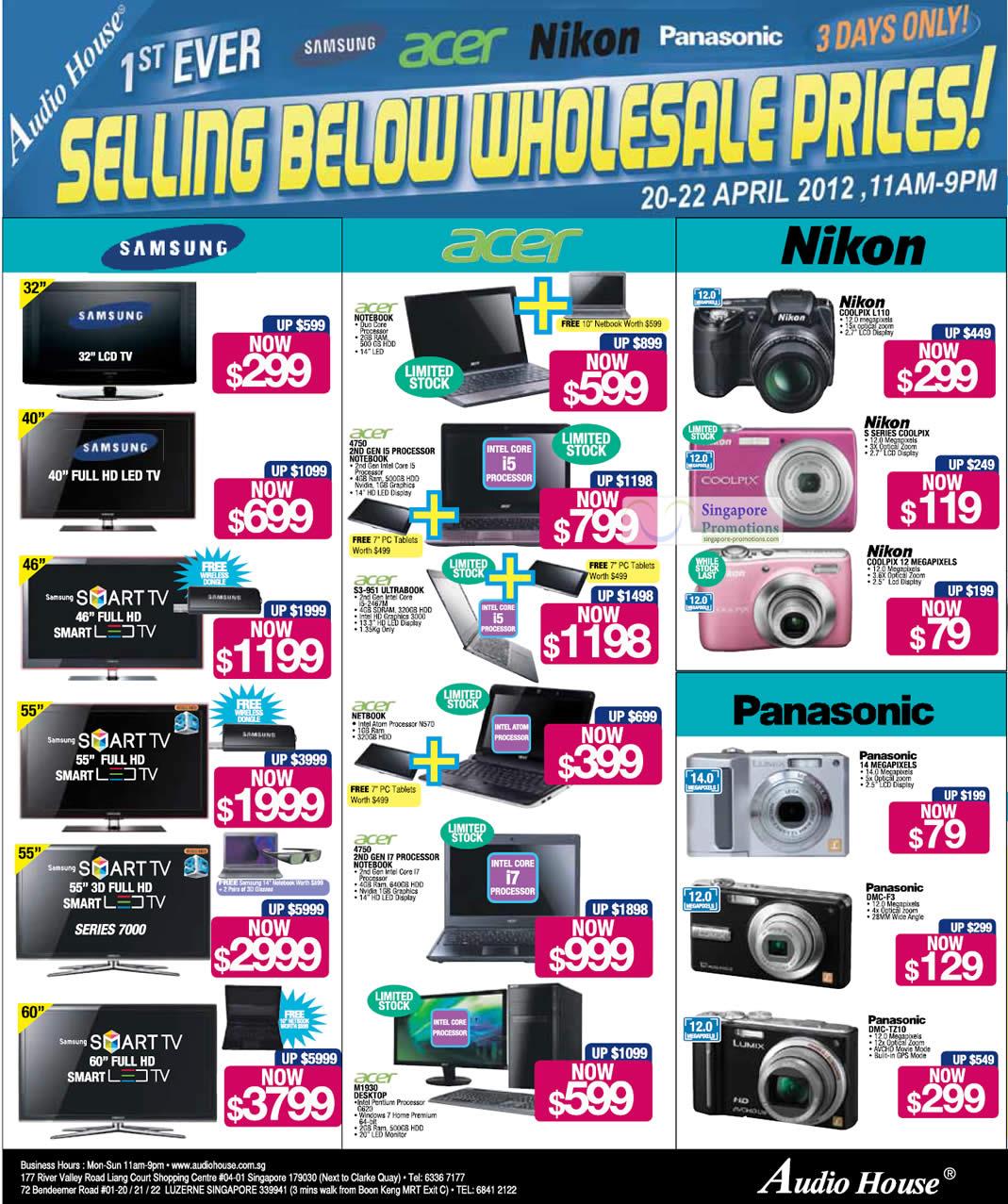 Acer M1930 Desktop PC, Acer S3-951 ULTRABOOK Notebook, Nikon COOLPIX L110 Digital Camera, Panasonic DMC-F3 Digital Camera, Panasonic DMC-TZ10 Digital Camera