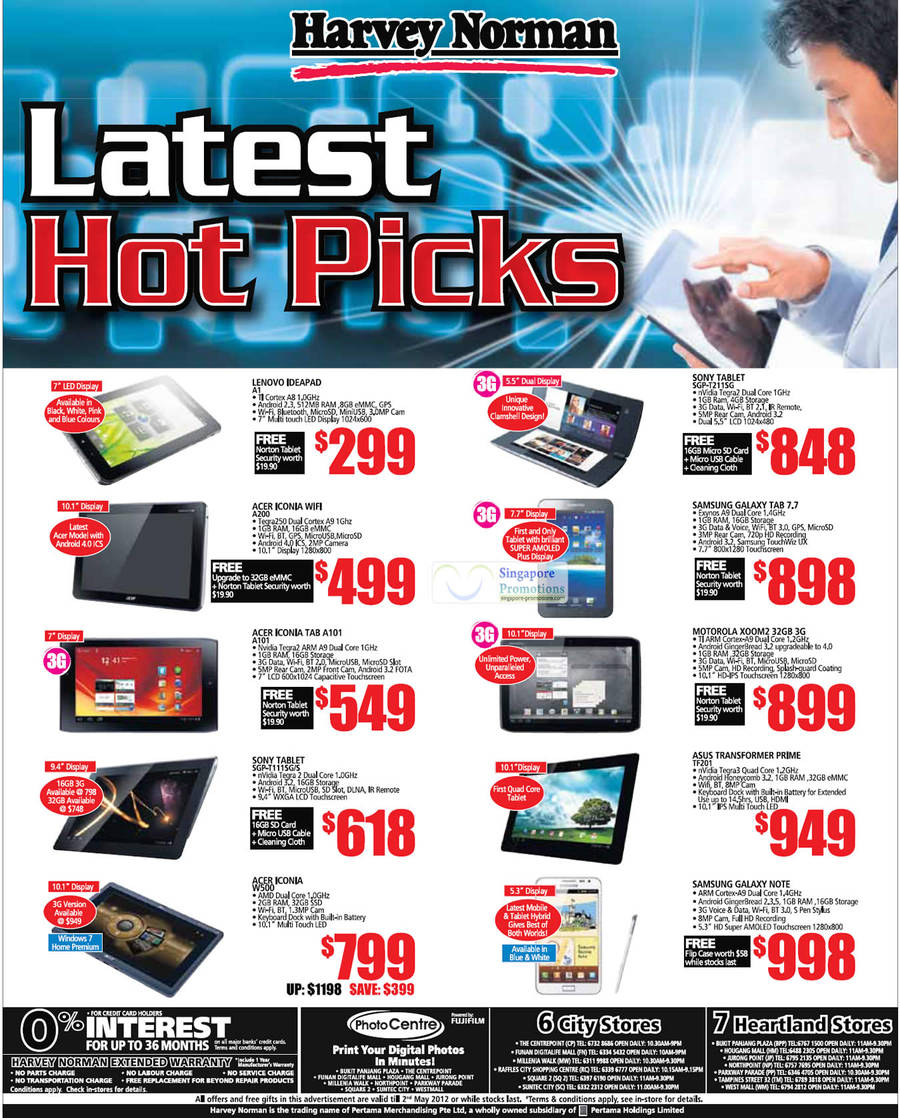 LENOVO IDEAPAD A1, ACER ICONIA A200, ACER ICONIA TAB A101, SONY TABLET SGP-T111SG/S, ACER ICONIA W500, ASUS TRANSFORMER PRIME TF201, MOTOROLA XOOM 2, SAMSUNG GALAXY TAB 7.7, SONY TABLET SGP-T211SG