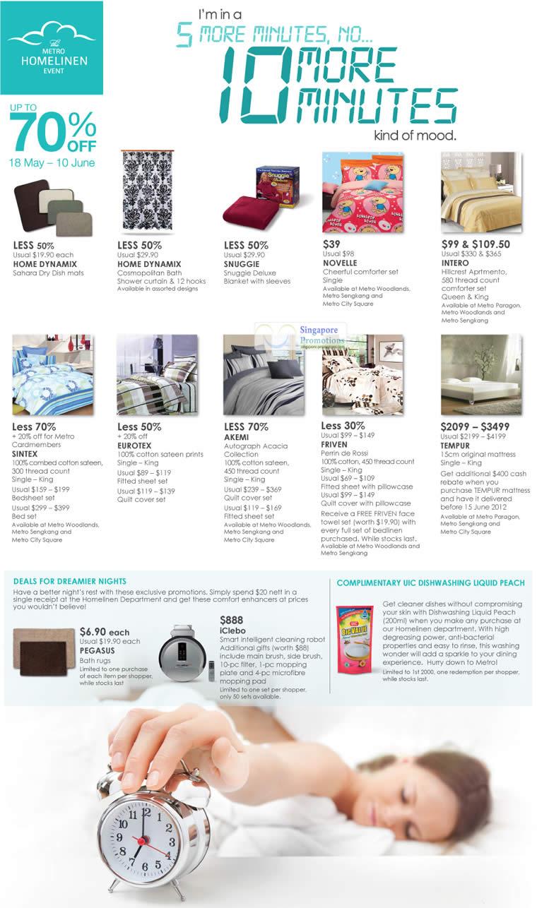 1 Jun Home Linen, Snuggie, Sintex, Novelle, Intero, Tempur, Eurotex, Akemi, Friven, Home Dynamix