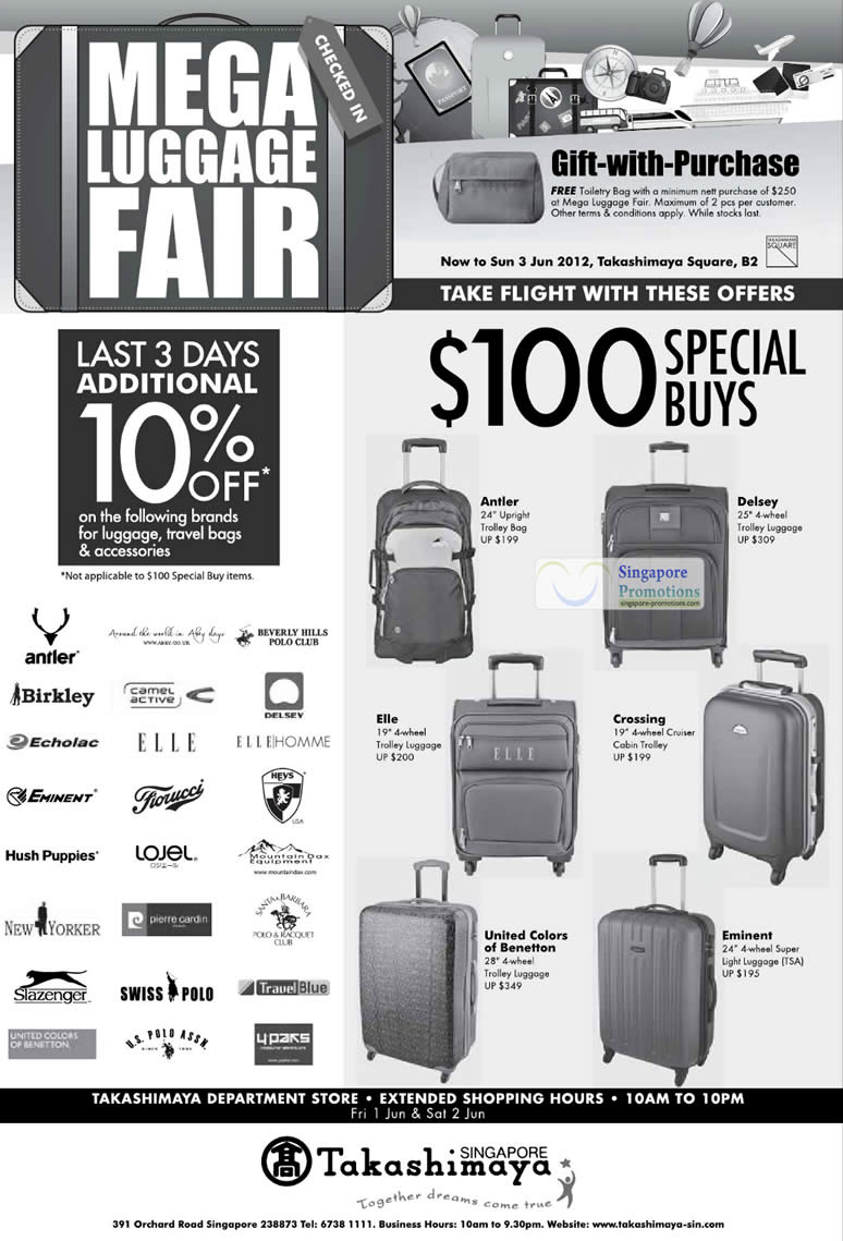 Takashimaya Mega Luggage Fair 16 May – 3 Jun 2012