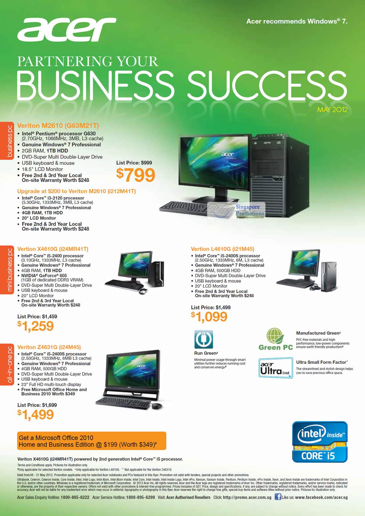 Acer Veriton M2610 G63M21T Desktop PC, Acer Veriton M2610 i212M41T Desktop PC, Acer Vertion X4610G i24MR41T Desktop PC, Acer Vertion L4610G i21M45 Desktop PC, Acer Veriton Z4631G i24M45 AIO Desktop PC
