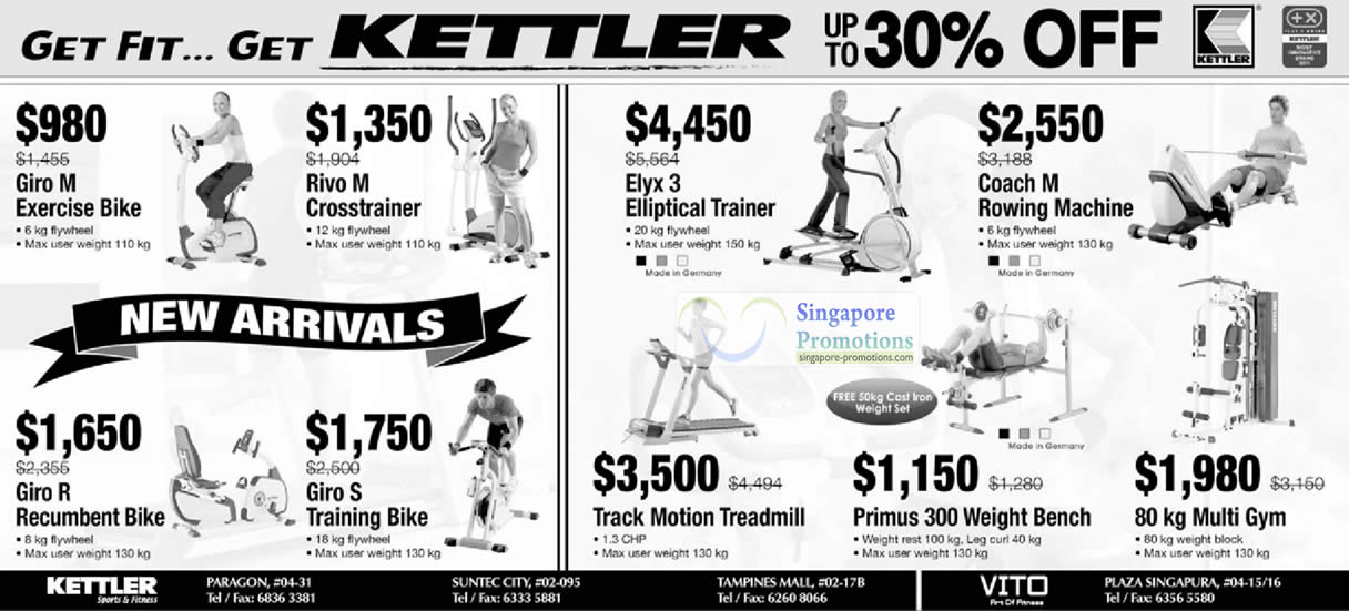 Kettler Giro M Exercise Bike, Kettler Rivo M Cross trainer, Kettler Giro R Recumbent Bike, Kettler Giro S Training Bike, Kettler Elyx 3 Elliptical Trainer, Kettler Track Motion Treadmill, Kettler Primus 300 Weight Bench, Kettler Coach M Rowing Machine, Kettler 80 kg Multi Gym