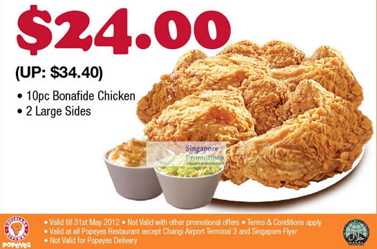 28 May 10pc Bonafide Chicken, 2 Large Sides