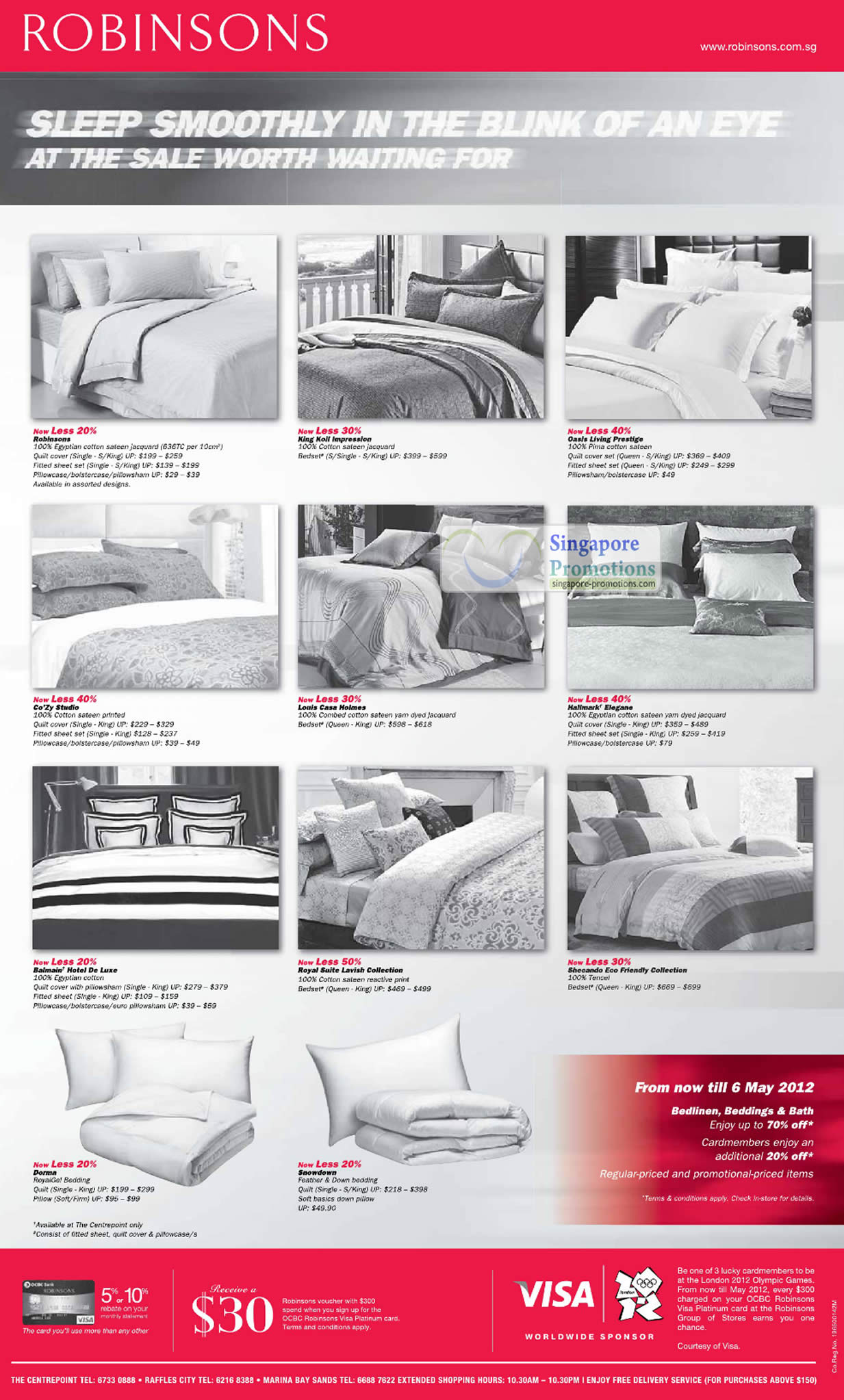 4 May Bed sheet sets, Robinsons, King Koil Impression, Oasis Living Prestige, Cozy Studio, Louis Casa Holmes, Hallmarks Elegance