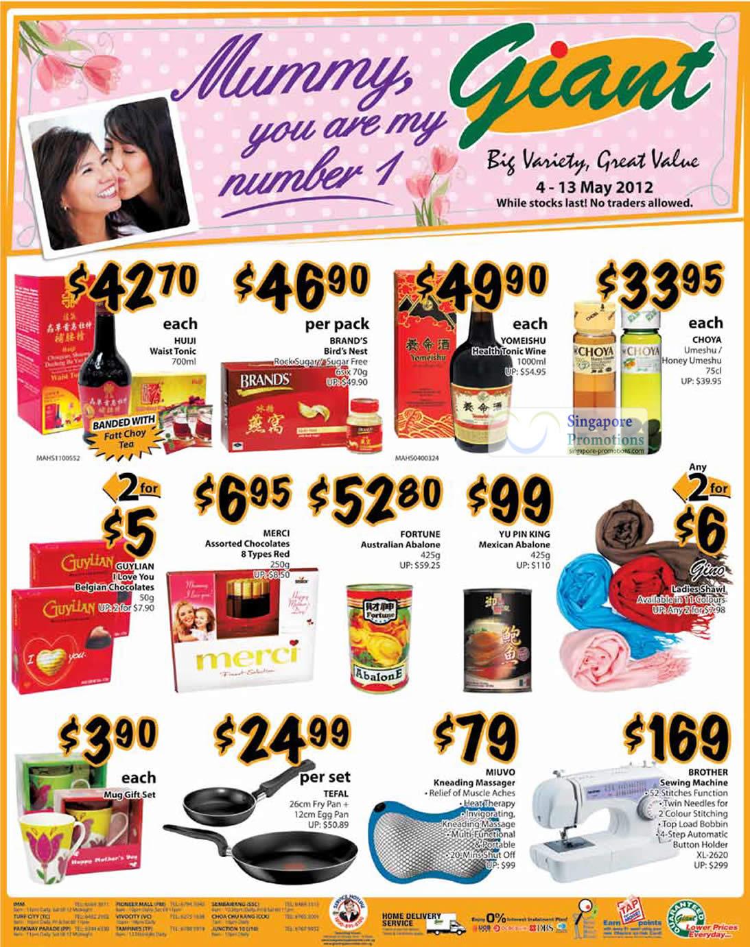 Brands Birds Nest, Yomeishu Wine, Abalones, Fortune, Yu Pin King, Sewing Machine