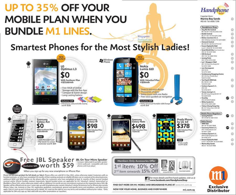 Handphone Shop LG Optimus L3, Nokia Lumia 610, Samsung Galaxy Ace, W, Note, Prada Phone by LG 3.0