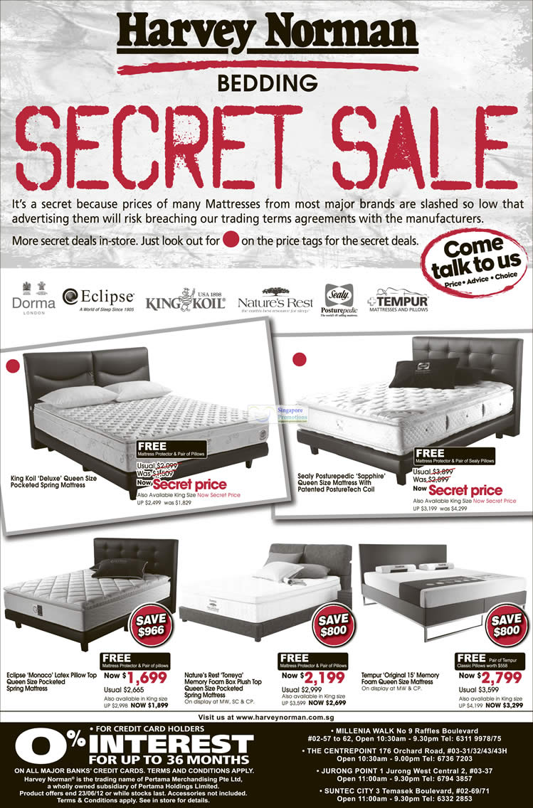 Mattresses, Dorma, Eclipse, King Koil, Sealy, Natures Rest