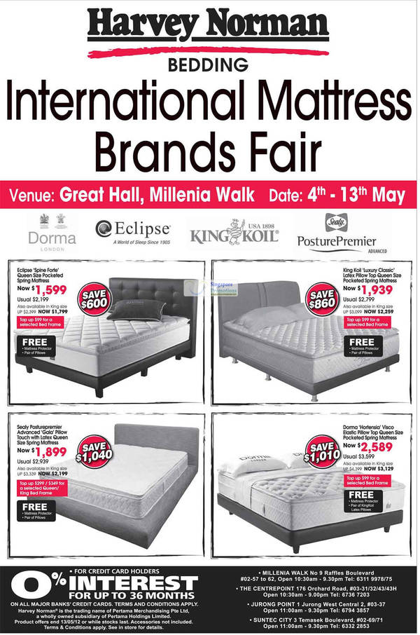 Eclipse Spine Forte Mattress, Sealy Posturepremier Gala Mattress, Dorma Hortensia Visco Elastic Mattress, King Koil Luxury Classic Mattress