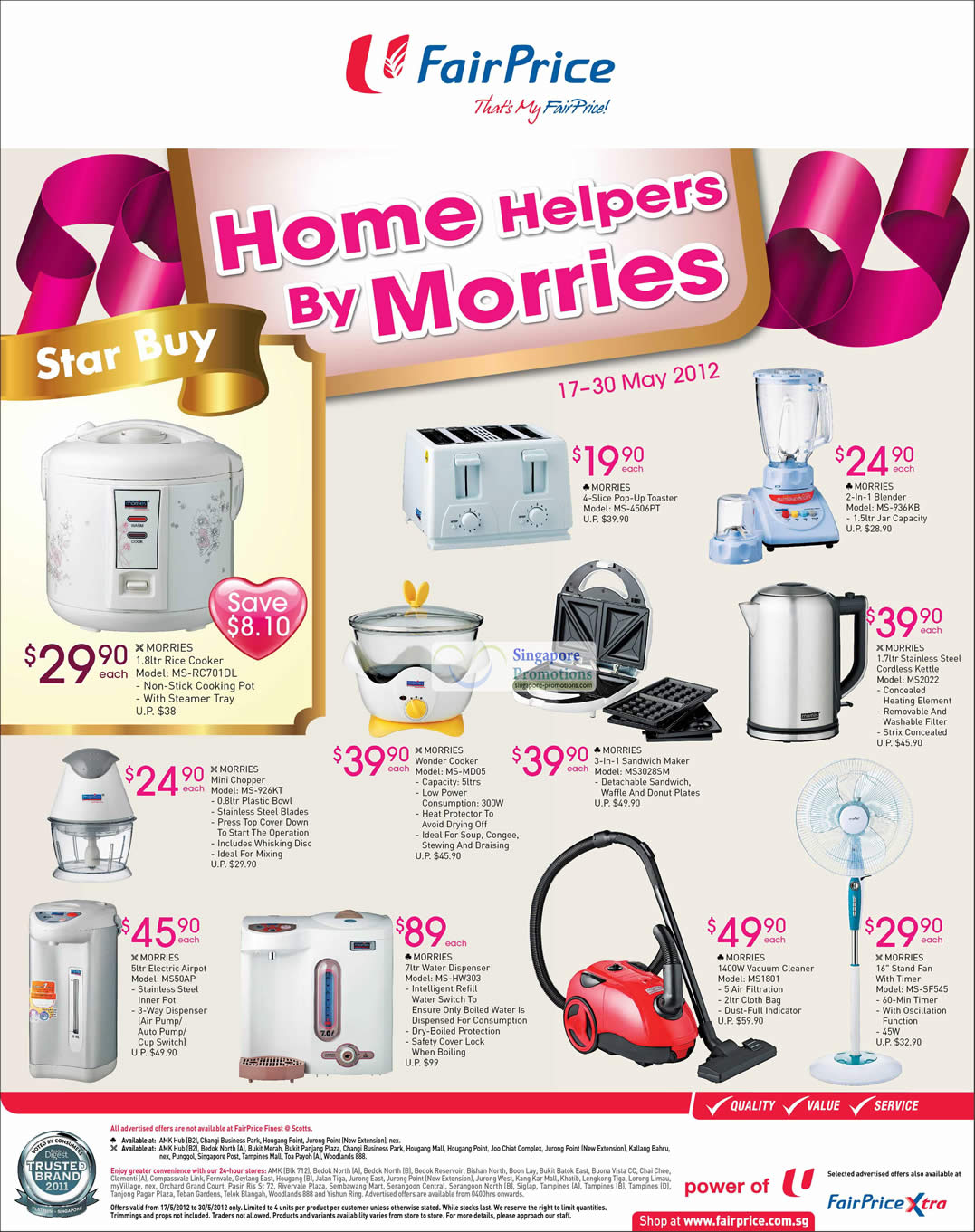 Morries, Vacuum Cleaner, Rice Cooker, Toaster, Airpot, Blender