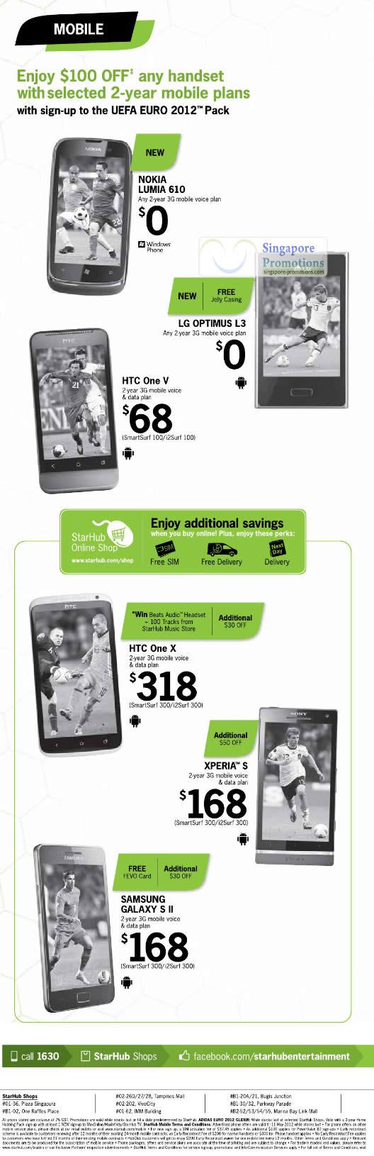 Nokia Lumia 610, LG Optimus L3, HTC One V, One X, Sony Xperia S, Samsung Galaxy S II