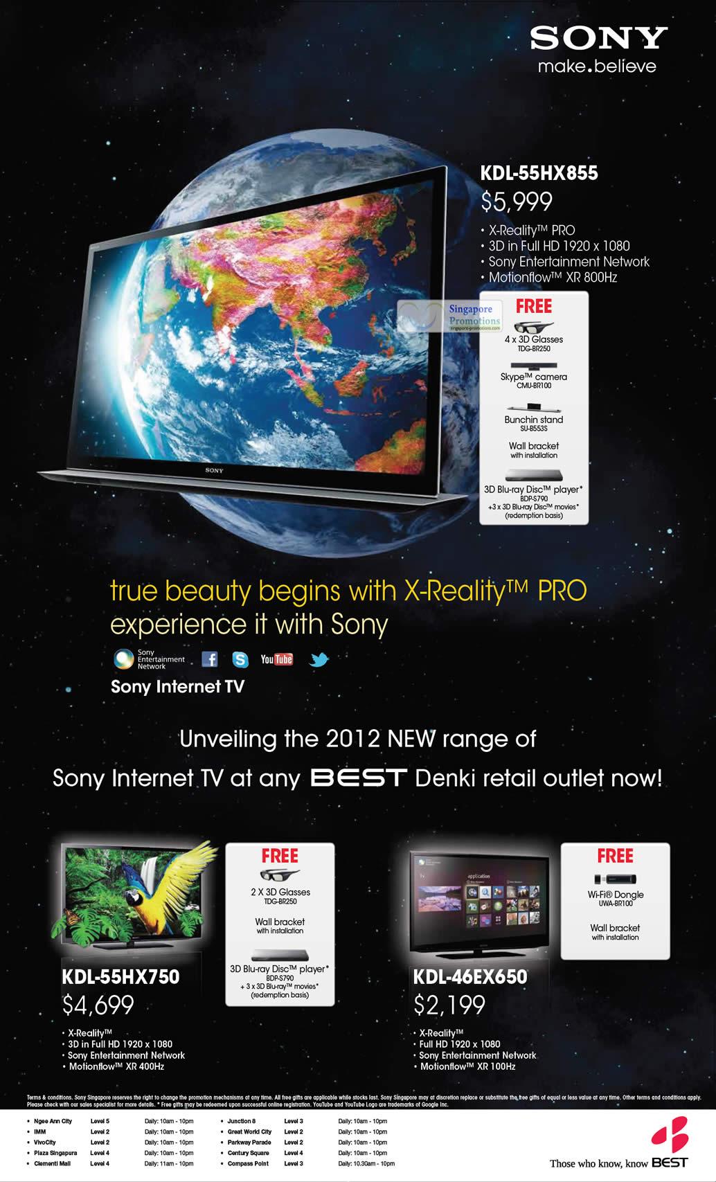 SONY KDL-55HX855 TV, SONY KDL-46EX650 TV, SONY KDL-55HX750 TV