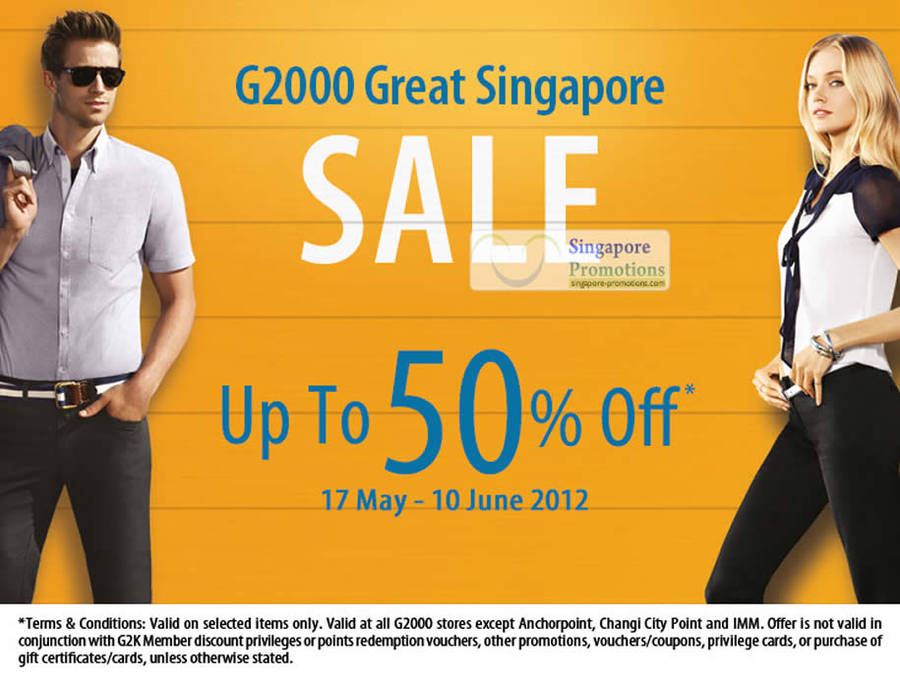 Up to 50 Percent Off, G2000 Stores, Terms Conditions