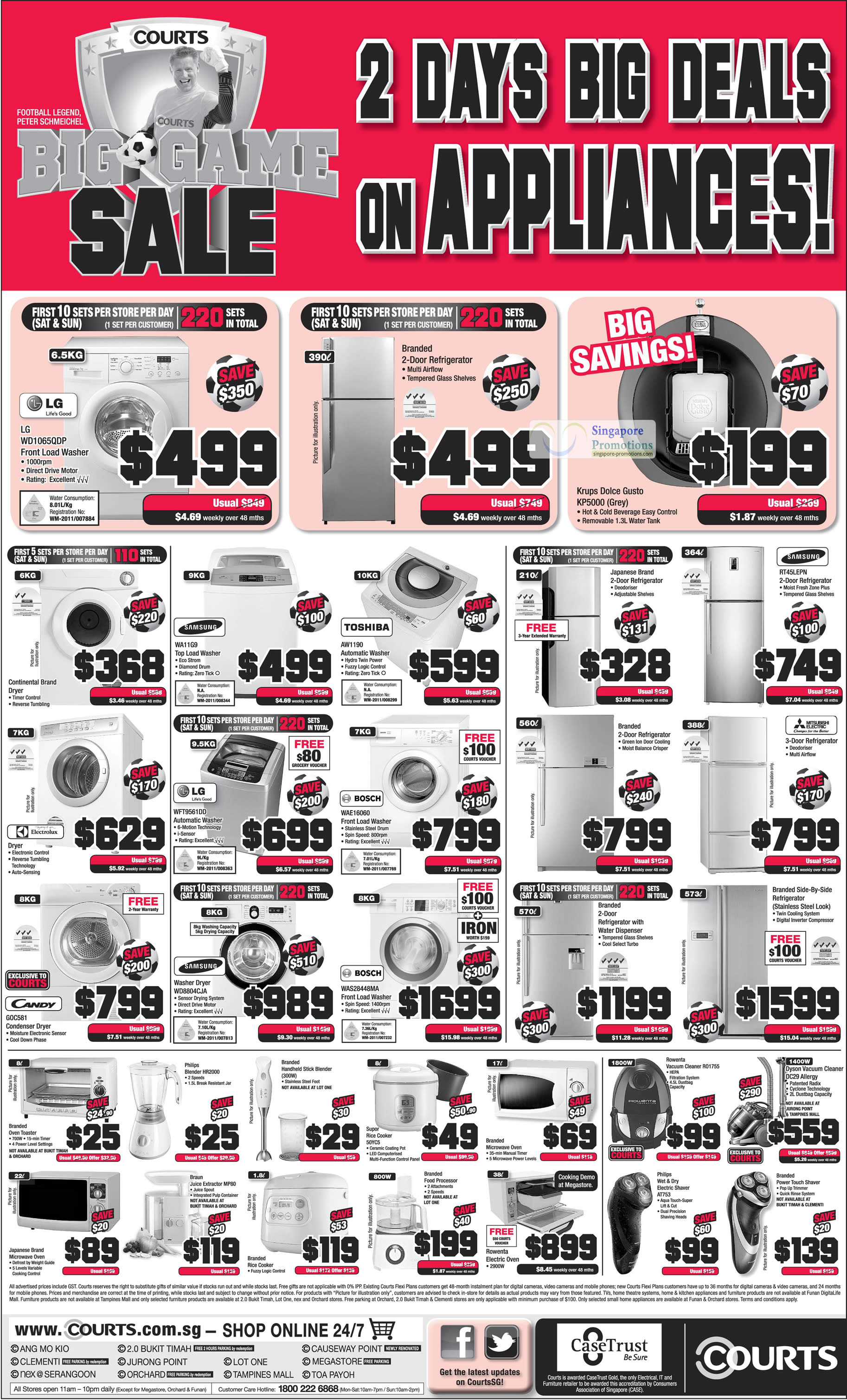 LG WD1065QDP Washer, Samsung WA11G9 Washer, LG WFT9561DD Washer, Candy GOC581 Condenser, Samsung Washer WD8804CJA, BOSCH WAS28448MA Washer, BOSCH WAE16060 Washer, TOSHIBA AW1190 Washer, Krups Dolce Gusto KP5000, Samsung RT45LEPN Fridge, Rowenta Vacuum Cleaner R01755, Dyson Vacuum Cleaner DC29, Philips Electric Shaver AT753, Supor Rice Cooker 50YC5, Philips Blender HR2000, Braun Juice Extractor MP80