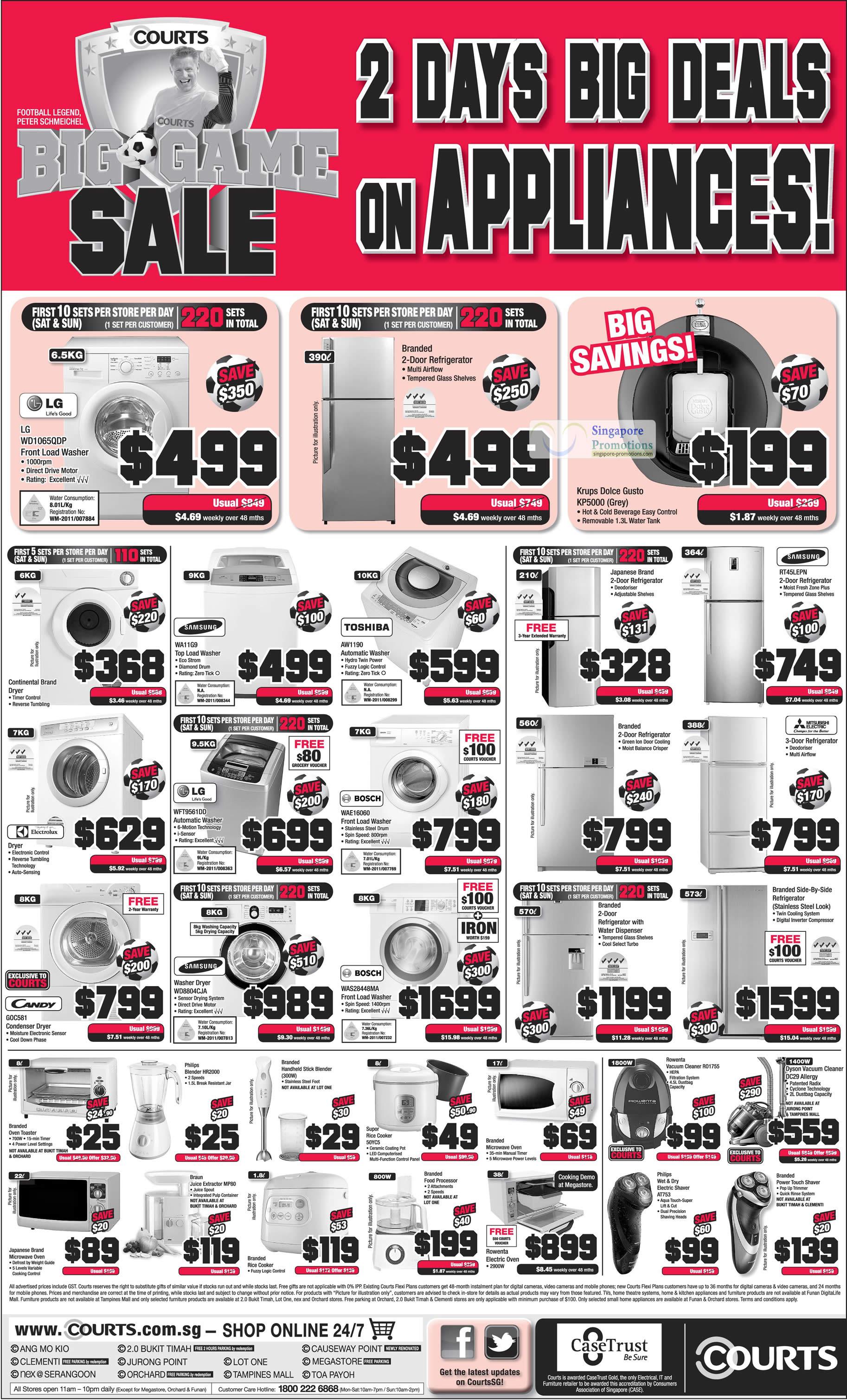 Washers, Fridges, Vacuum Cleaner, LG, Toshiba, Samsung, Bosch, Candy, Electrolux
