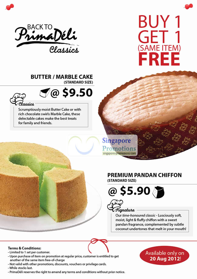 20 Aug 1 For 1 Butter or Marble Cake, Premium Pandan Chiffon