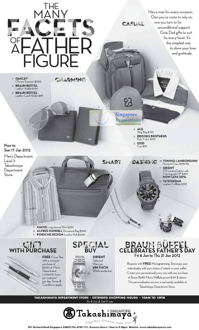 OAKLEY Chrome Eyewear, BRAUN BUFFEL Leather Wallet, BRAUN BUFFEL Leather Card Holder, ACE Sling Bag, IZOD Cap, TONINO LAMBORGHINI Pendant Chain, ORIENT STI Limited Edition Chronograph, TATEOSSIAN Leather Cufflinks, ALFRED DUNHILL Document Bag , PORSCHE DESIGN Leather Belt