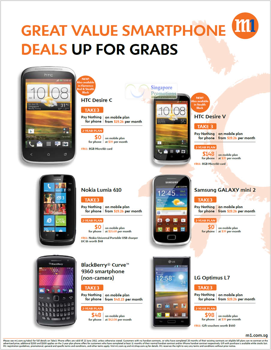 HTC Desire C, V, Nokia Lumia 610, Samsung Galaxy Mini 2, Blackberry Curive 9360, LG Optimus L7