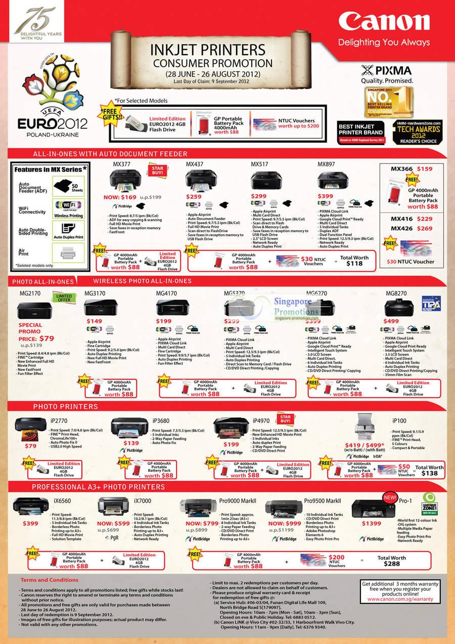Canon MX377 Inkjet Printer, Canon MX437 Inkjet Printer, Canon MX517 Inkjet Printer, Canon MX897 Inkjet Printer, Canon MG2170 Inkjet Printer, Canon MG3170 Inkjet Printer, Canon MG4170 Inkjet Printer, Canon MG5370 Inkjet Printer, Canon MG6270 Inkjet Printer, Canon MG8270 Inkjet Printer, Canon iP2770 Inkjet Printer, Canon iP3680 Inkjet Printer, Canon iP4970 Inkjet Printer, Canon iP100 Inkjet Printer, Canon iX6560 Inkjet Printer, Canon iX7000 Inkjet Printer, Canon Pro9000 Markll Inkjet Printer, Canon Pro9500 Markll Inkjet Printer, Canon Pro-1 Inkjet Printer